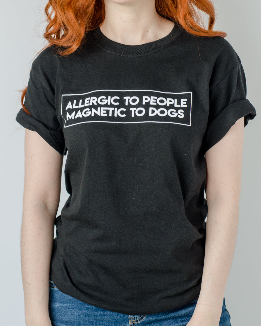 Allergic To People Magnetic To Dogs T-Shirt