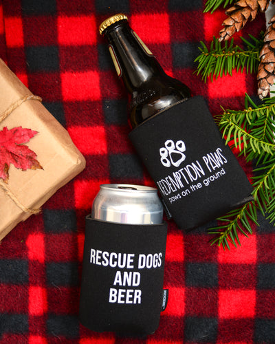 Pair of Rescue Dogs and Beer Koozies