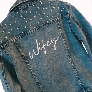 Personalised Denim Jacket, available in  Plain or Pearl deatiled.
