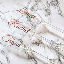 Load image into Gallery viewer, Champagne 'Name' Glasses, perfect Bridesmaid gift