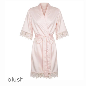 Anna Collection- Personalised Satin Robe With Lace Detail