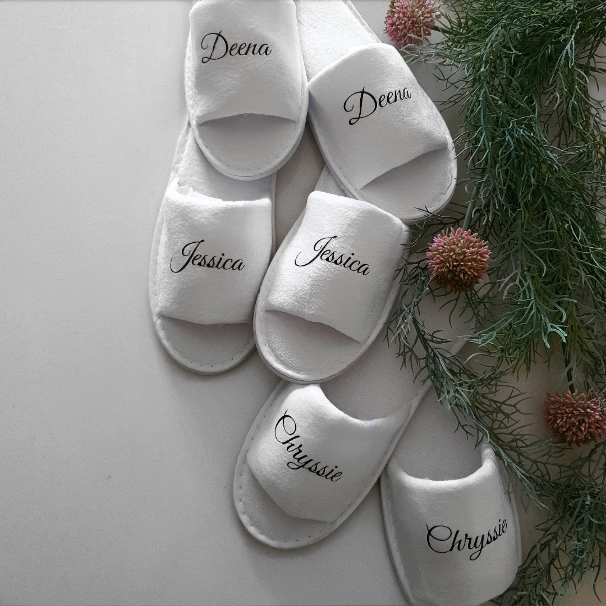 Personalised White Slippers.