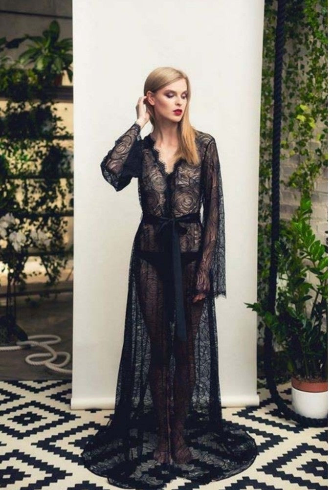 Rosette Collection- Black Full Length Lace Robe.