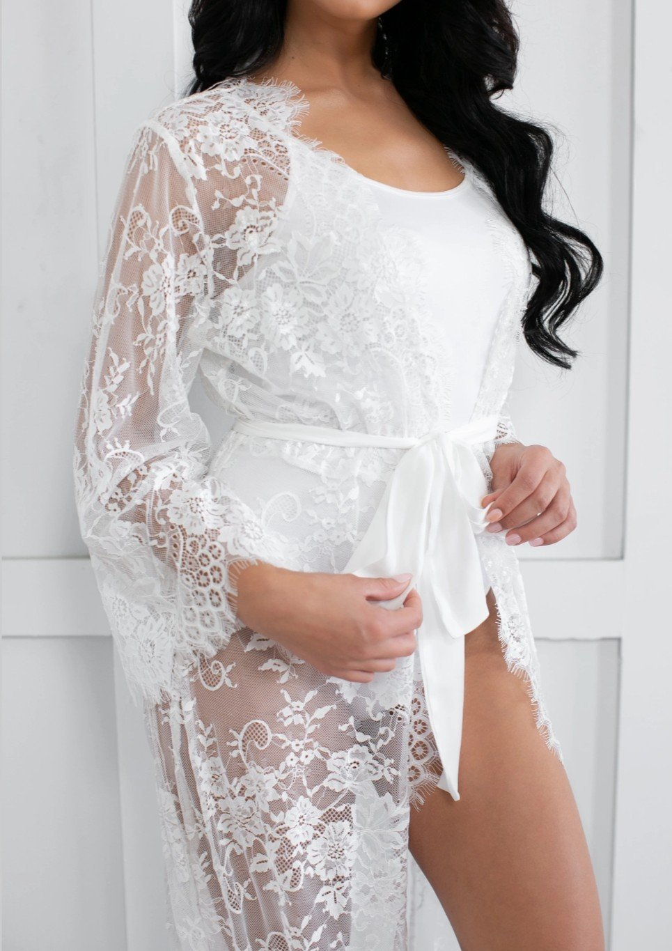 Victoria Collection- Full Length Wedding Lace Robe.