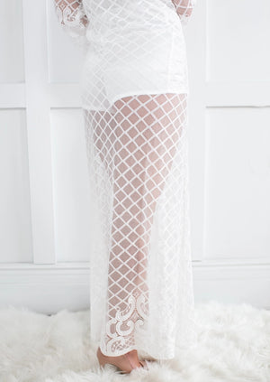 Ava Collection- Floor Length Lace Robe.