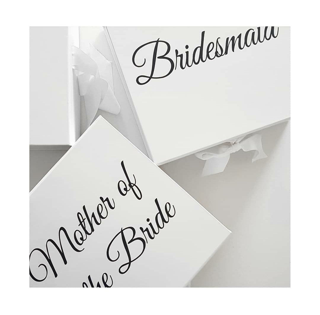 "Personalised ""Name"" Ribbon Tie Hamper Box available in black & white"