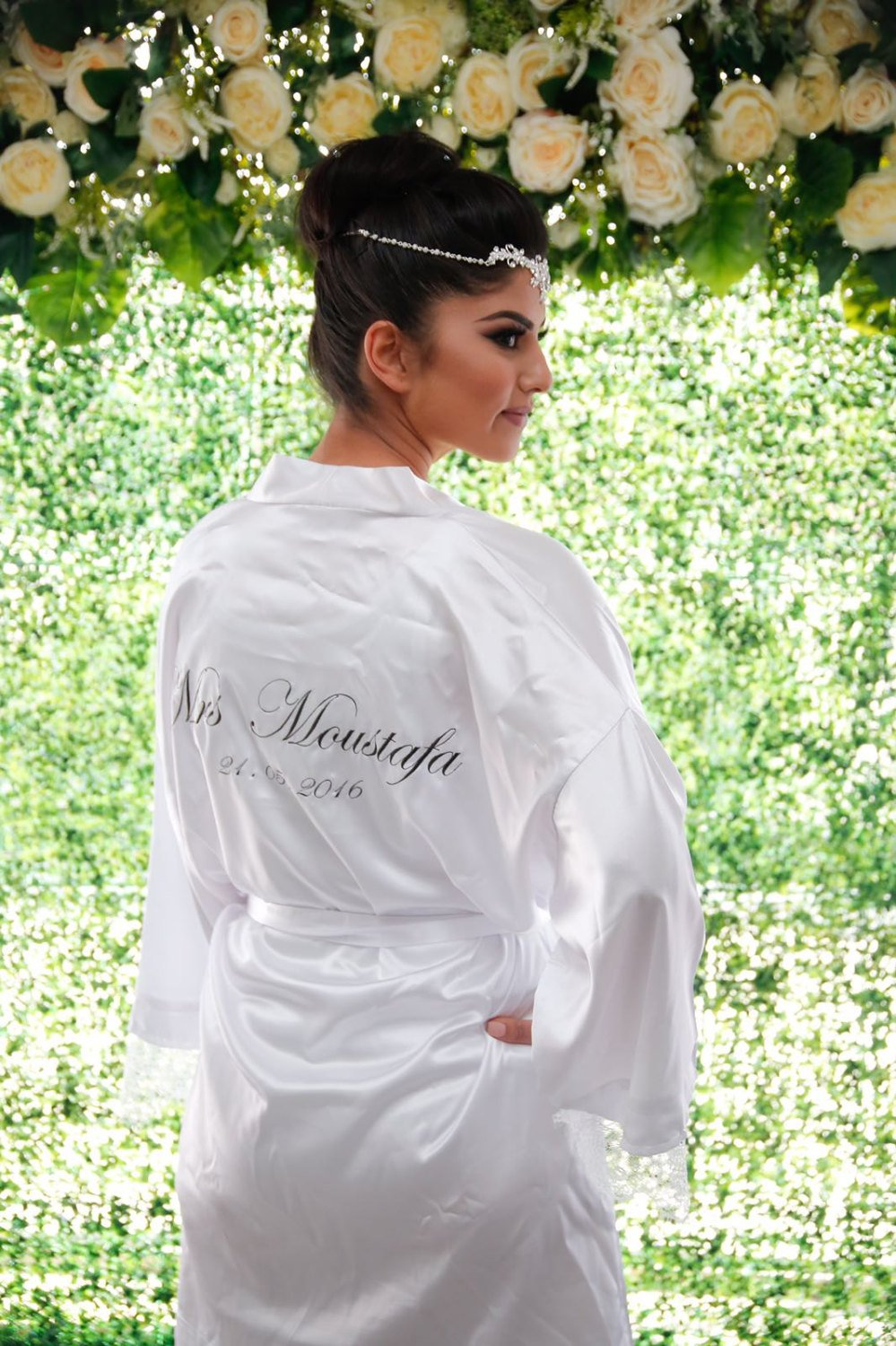 Embroidered 'Mrs Surname' Satin Robe