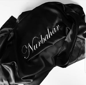 "Embroiderd ""Name"" Satin Robe."