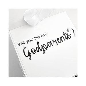 Will you be my? Godparents Ribbon Tied Hamper Box