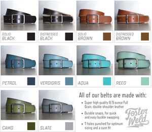 Distressed Aqua Leather Belt