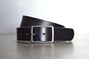 Solid Black Leather Belt