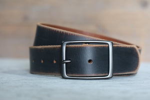 Distressed Black Leather Belt