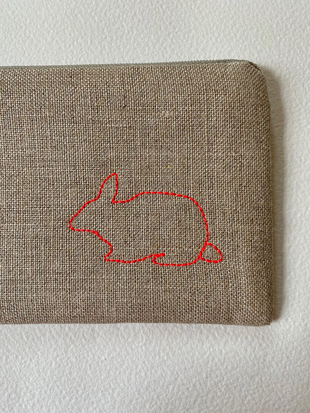 """Bunny"" Embroidered Pouch"