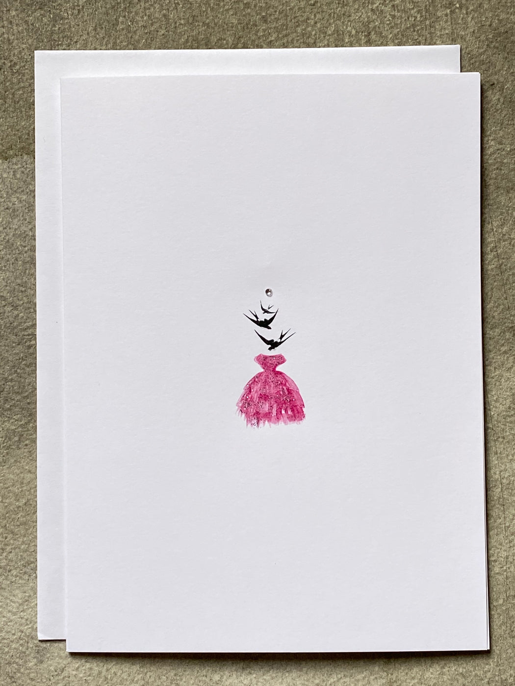 """A Dress So Beautiful It Took Flight"" Greeting Card"