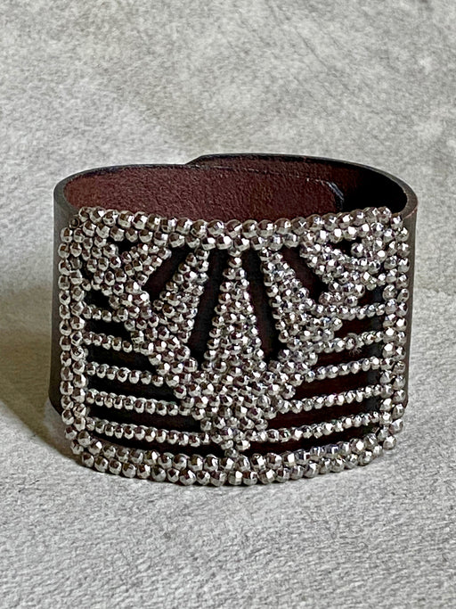 Vintage Steel Cut Shoe Buckle Bracelet - Pyramid