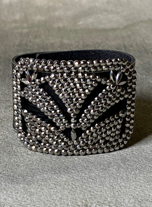 Vintage Steel Cut Shoe Buckle Bracelet - Garden