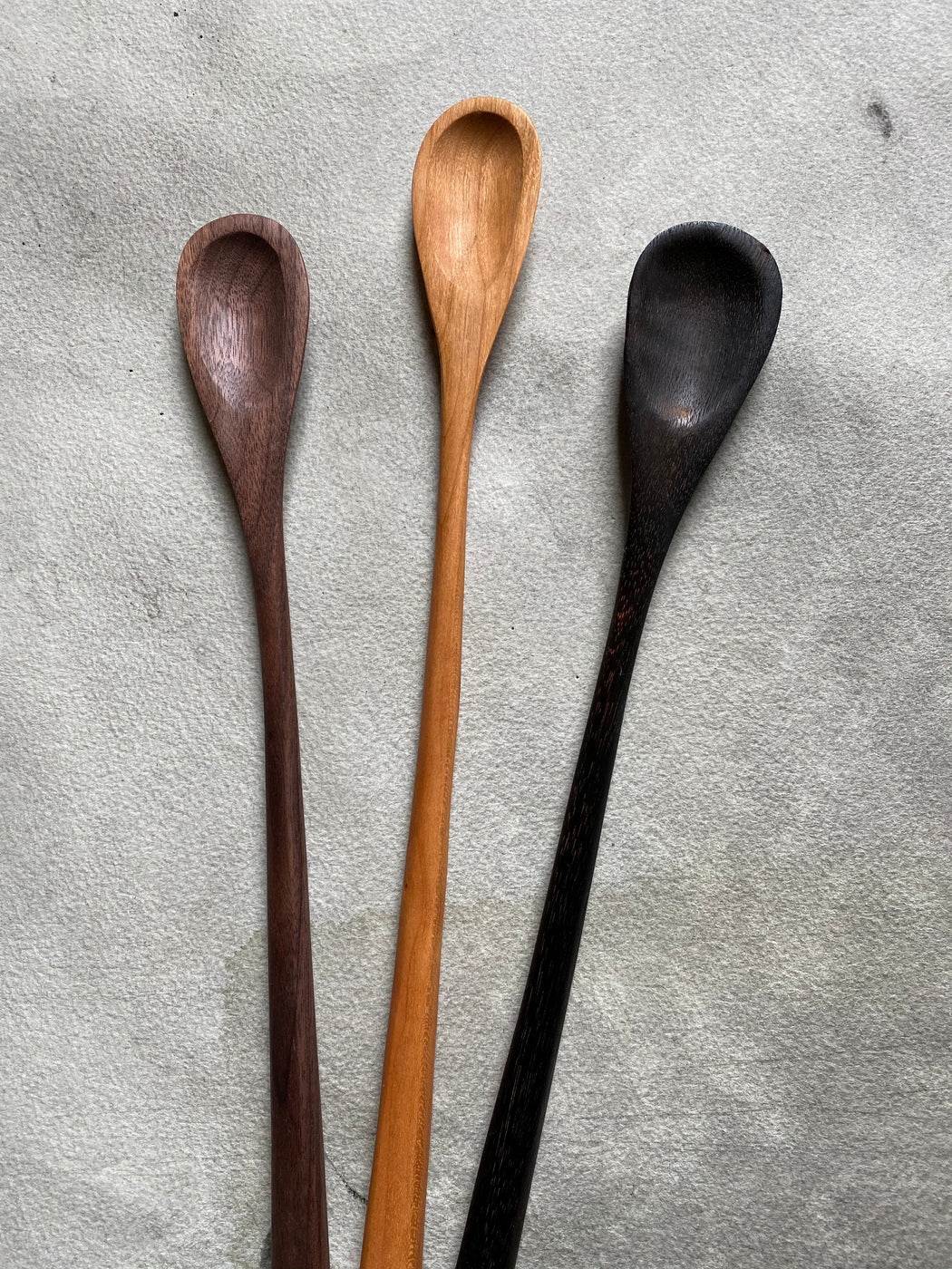 Hand-Carved Stir Spoon - Charred Maple