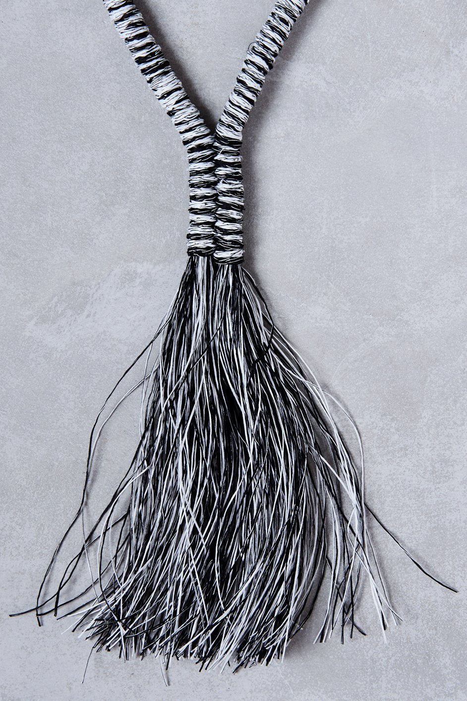 Black & White Tassle Necklace by Beige