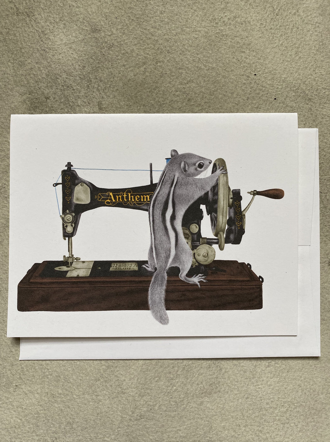 Chipmunk with a Sewing Machine Card
