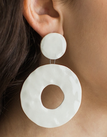 Circle Dot Drop Ceramic Earrings - White