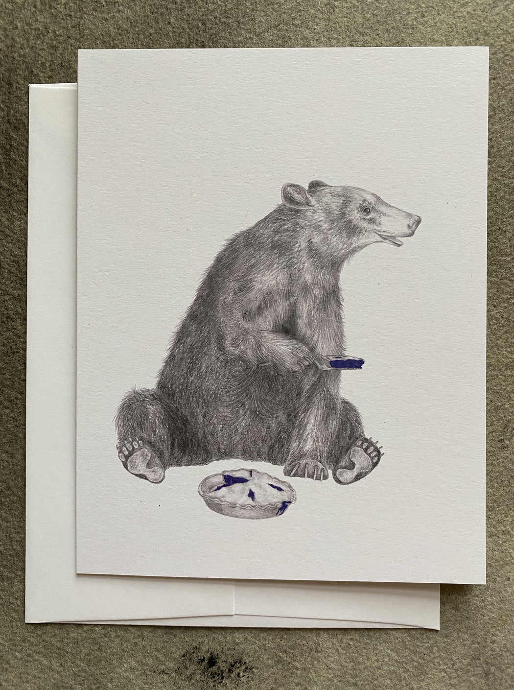 Black Bear Eating Pie Blank Card