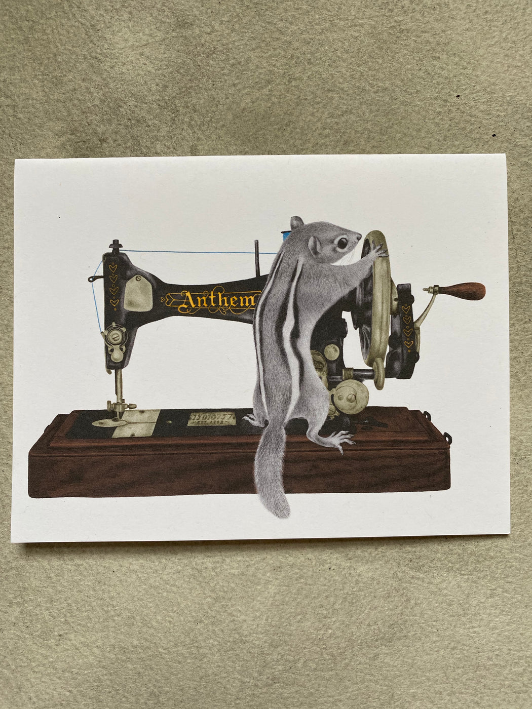 Chipmunk with a Sewing Machine Blank Card
