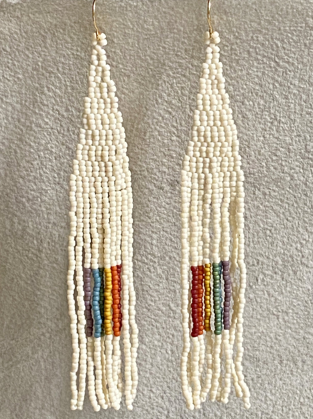 Beaded Drop Earrings - Rainbow Square