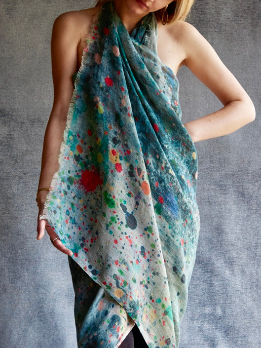 Martyn Thompson Studio Drop Cloth Linen Scarf - Red Drops