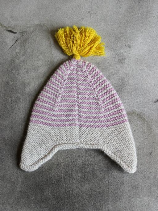 Pink Striped Alpaca Baby Hat