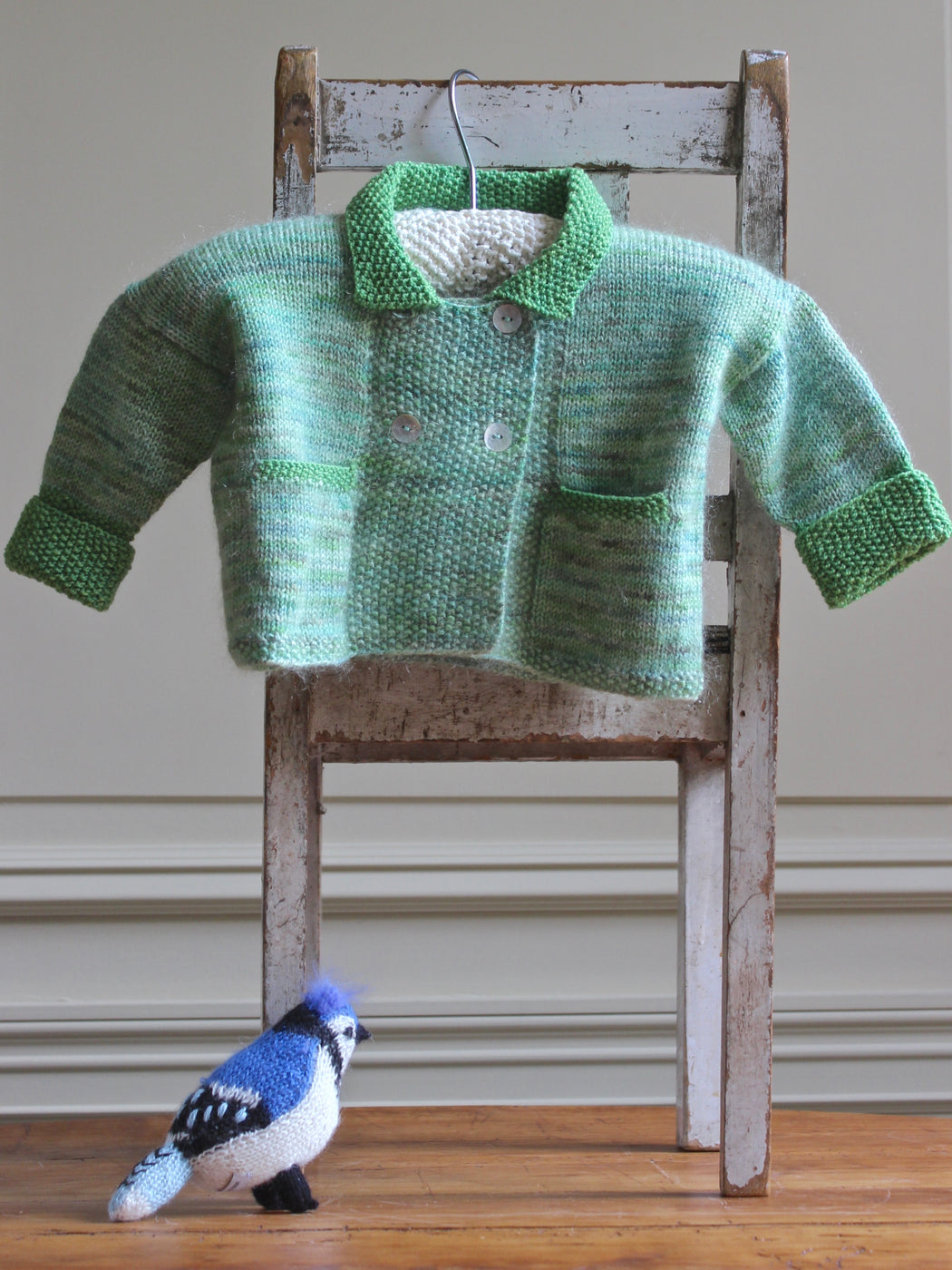 Aunt Debbie's Hand-Knit Baby Sweater -  Lime (1 - 2 years)