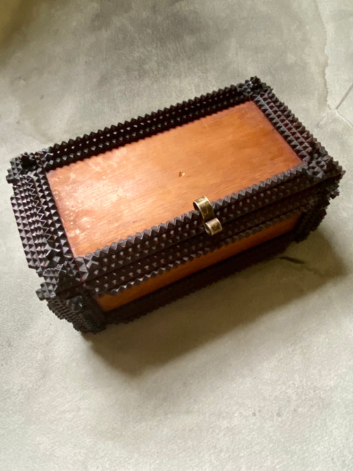 Vintage Tramp Art Jewelry Box