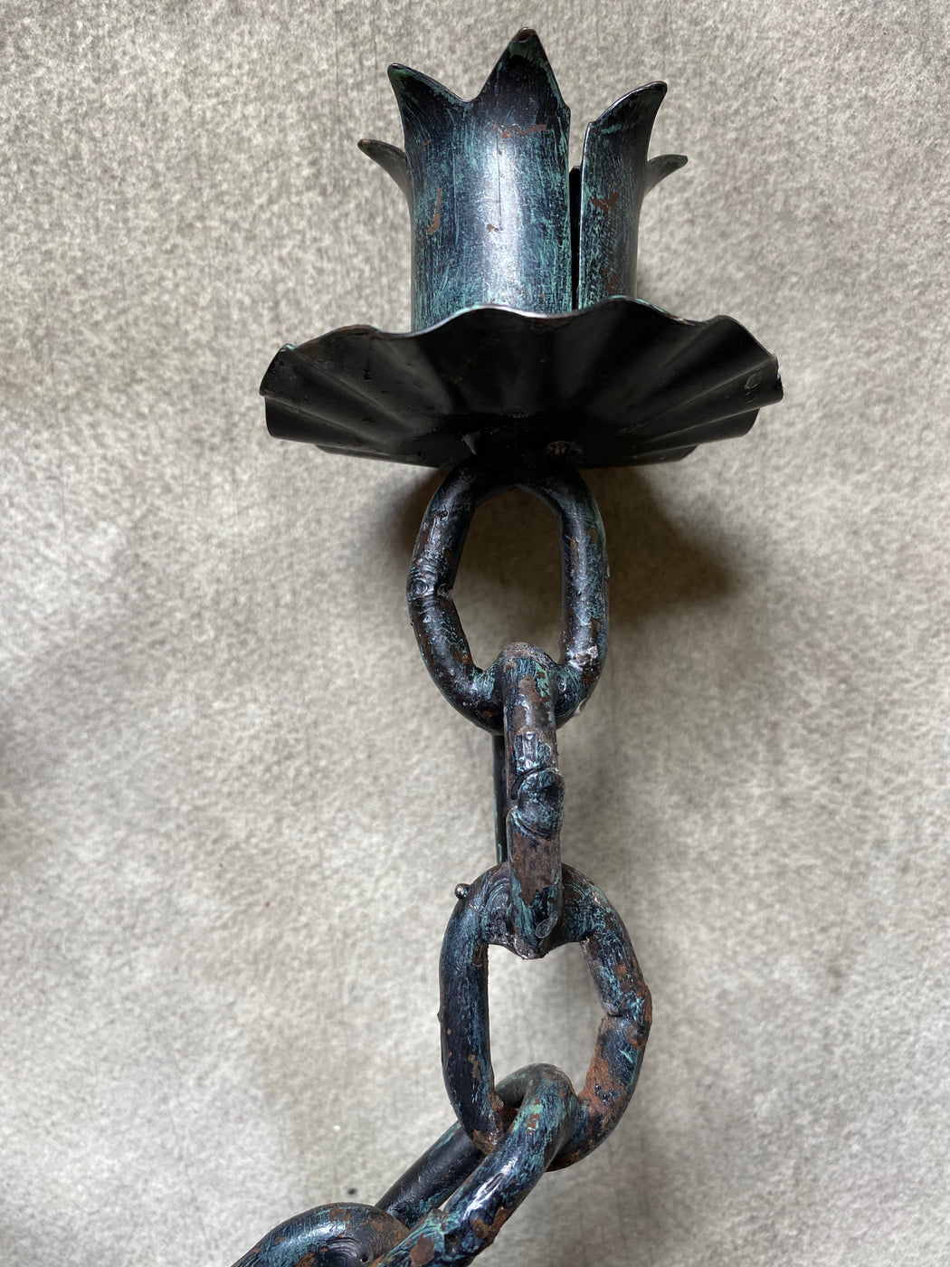 Vintage Mid-Century Chain Link Candlestick