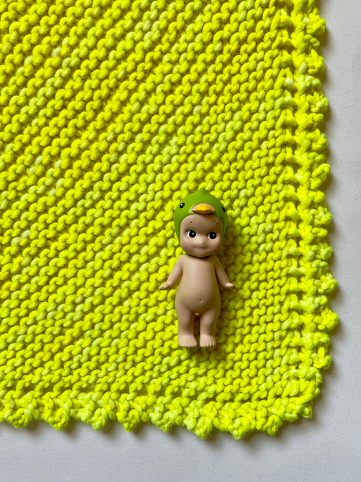 Aunt Debbie's Hand-Knitted  Baby Blanket -  Day Glo Yellow