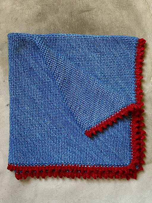 Aunt Debbie's Hand-Knitted  Baby Blanket -  Denim Blue