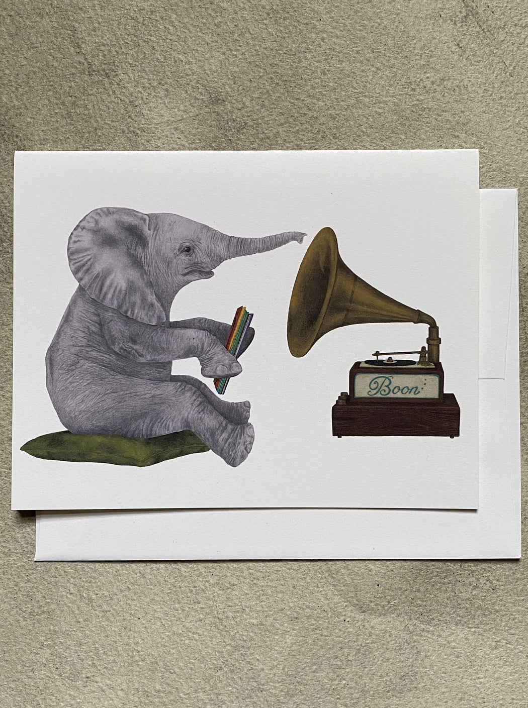 Elephant Listening to Records Blank Card
