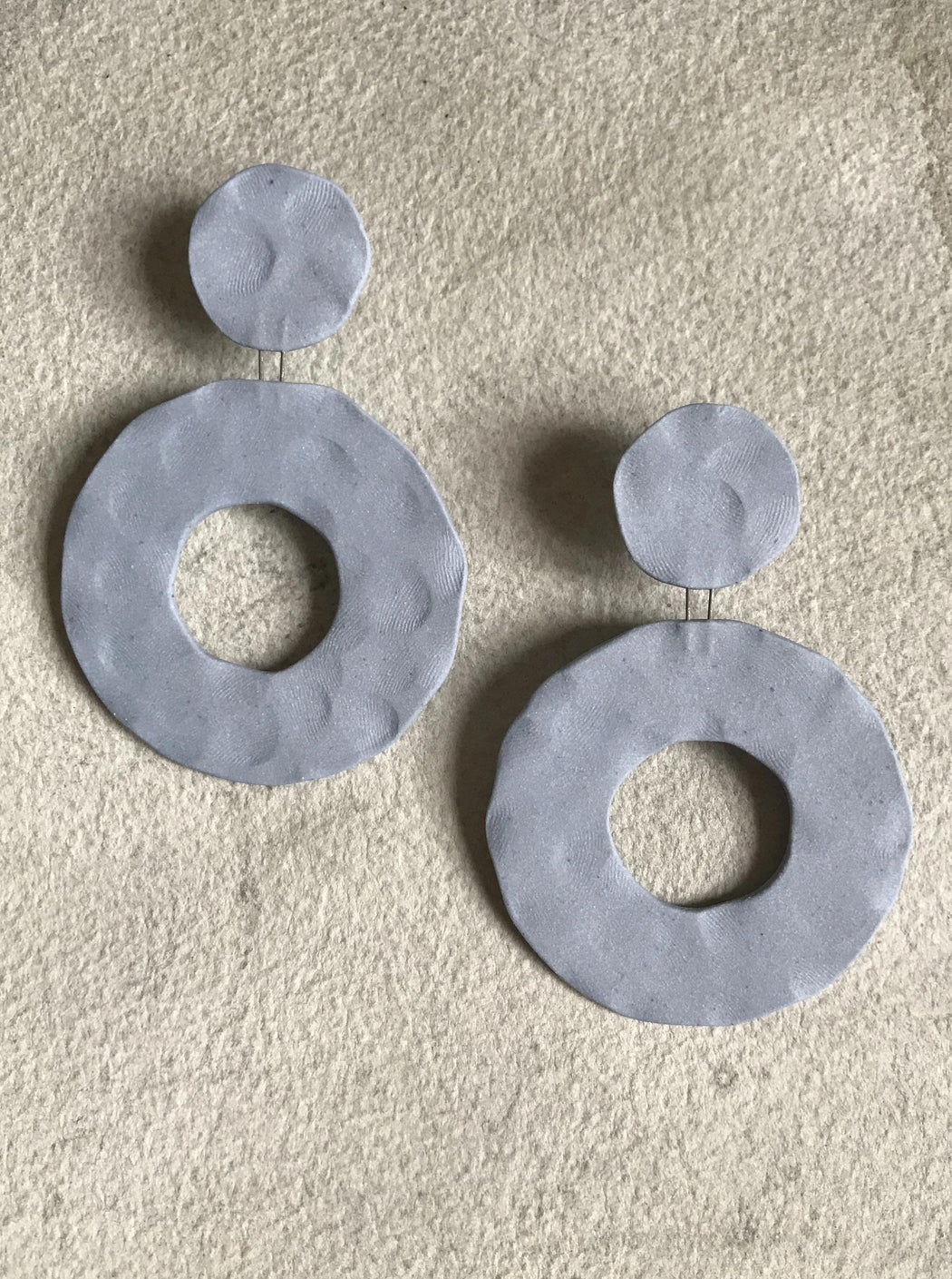 Circle/Dot Ceramic Earrings - Pale Blue