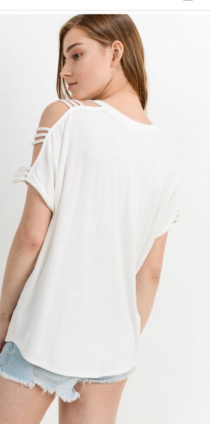 Cold shoulder V-Neck