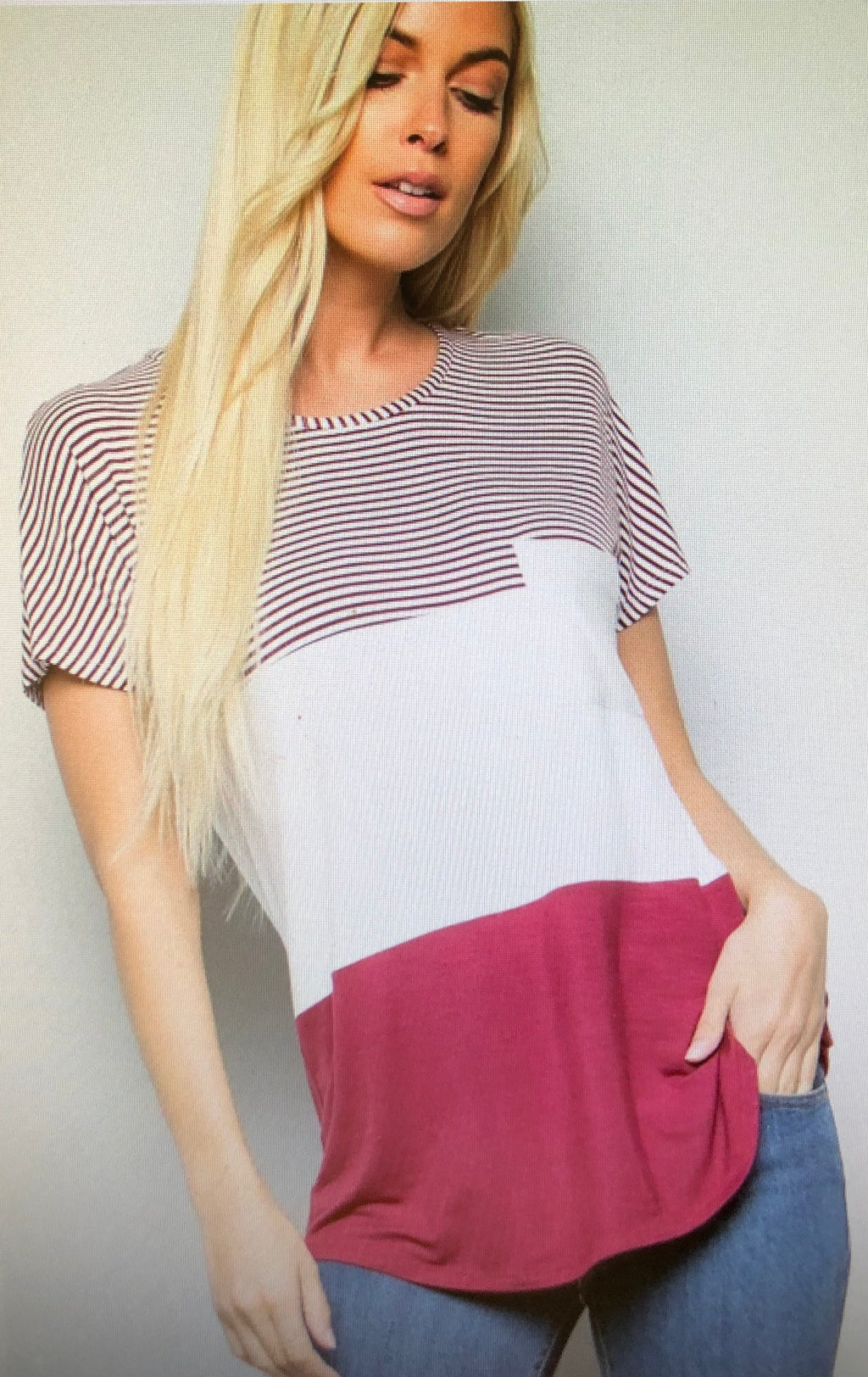 Burgandy Striped Tee