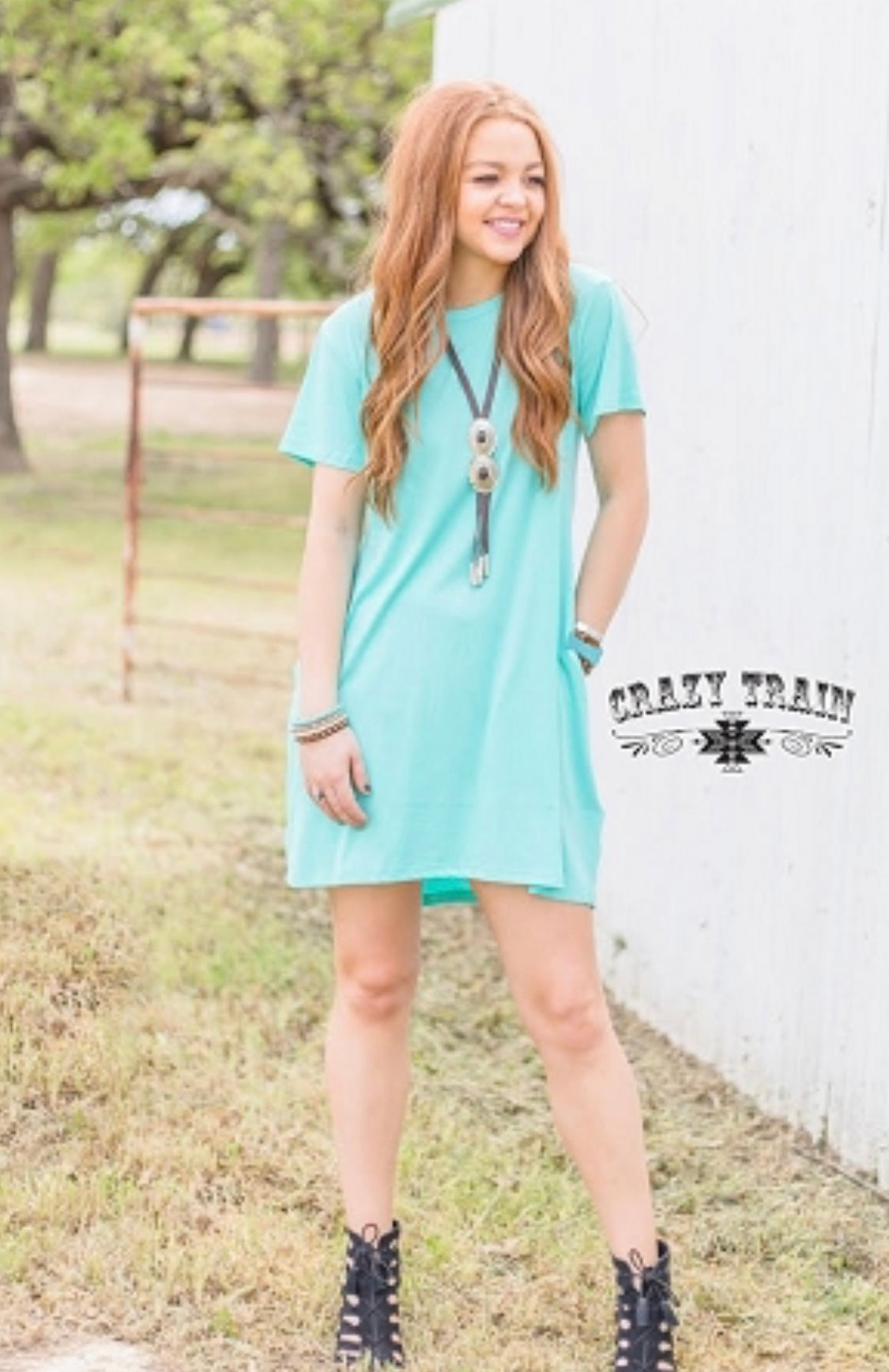 Turquoise Twirl Pocket Dress