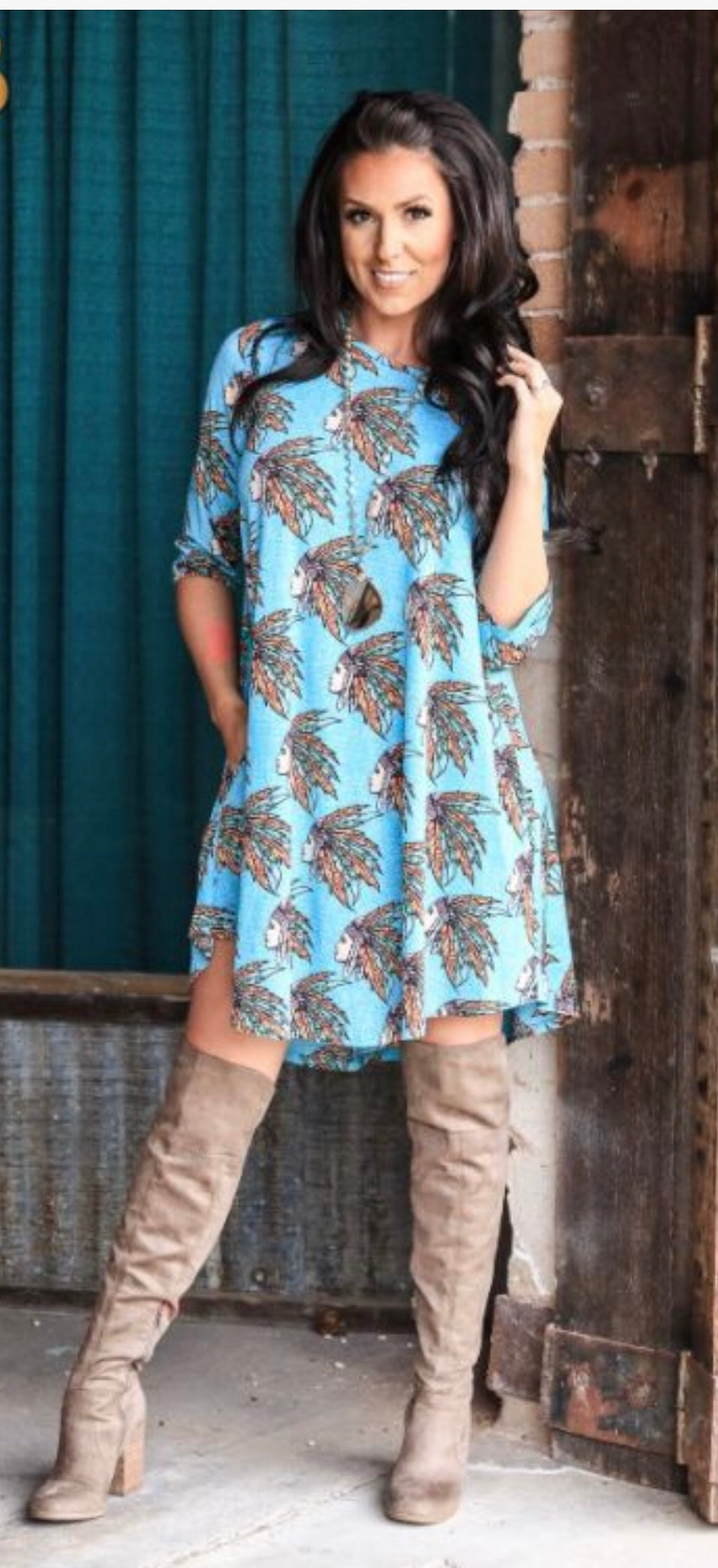 Turquoise HeadDress 3/4 sleeve Dress