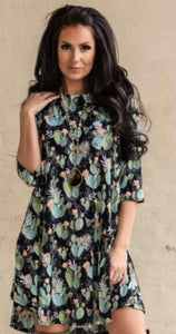 Black Cactus 3/4 Sleeve Dress