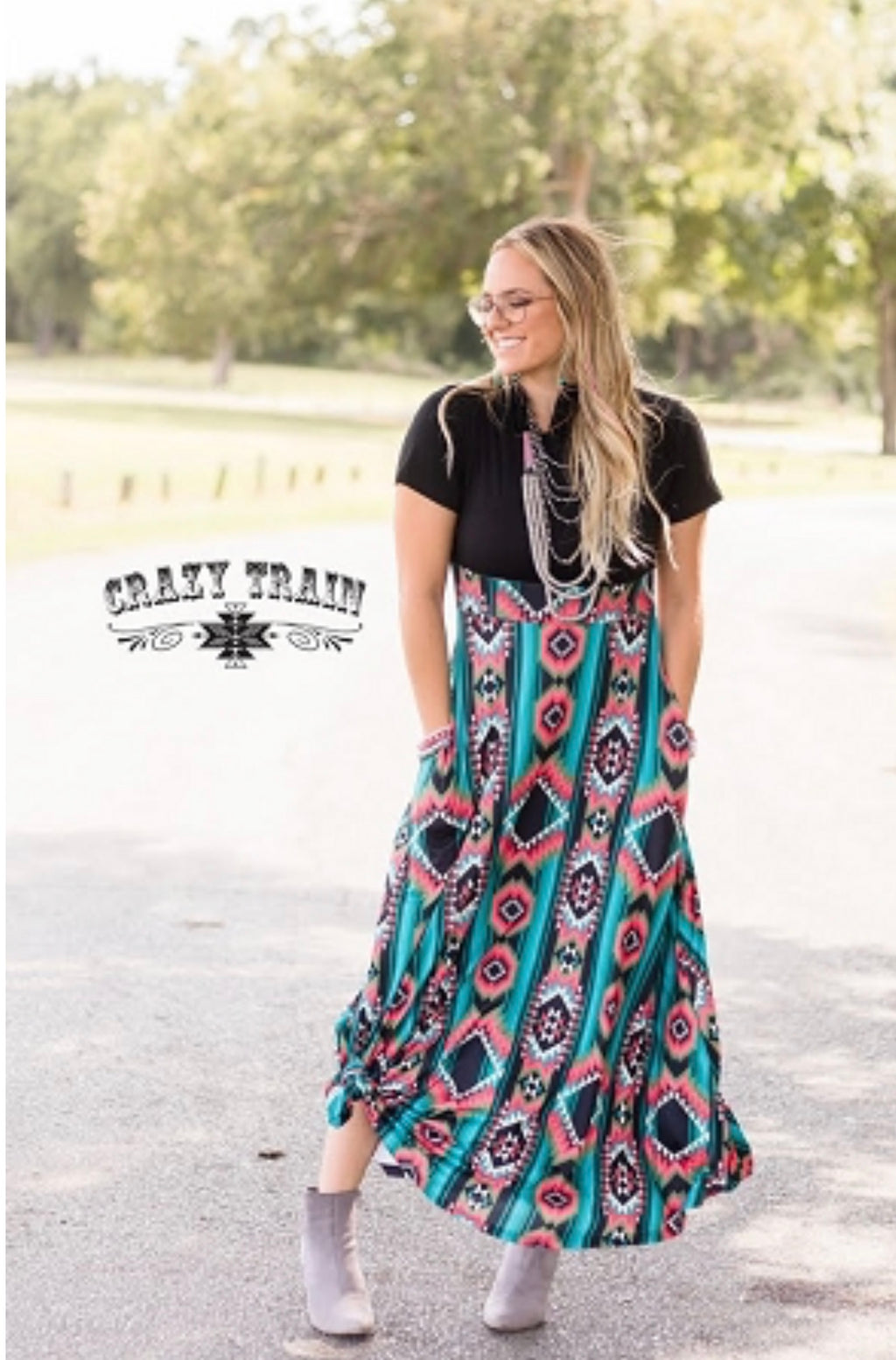 Dress to Impress Aztec Maxi Dress