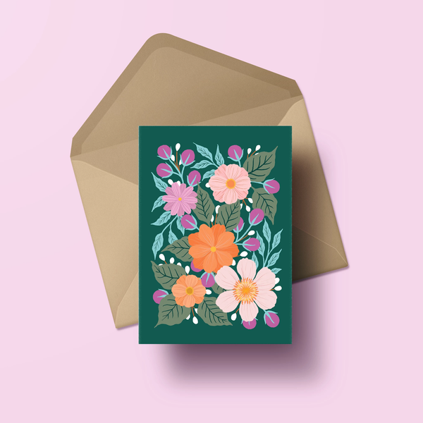 Florals on Emerald - Greeting Card