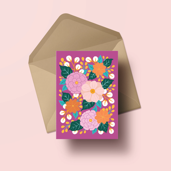 Florals on Fuchsia - Greeting Card