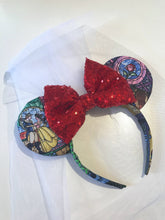 Load image into Gallery viewer, Detachable Veil Add on - Handmade Mouse Ears Headband