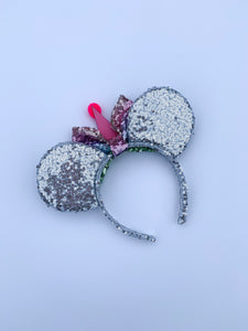 Personalised Sequin Ears - Birthday Initials Mouse Head - Handmade Sequin Mouse Ears Headband