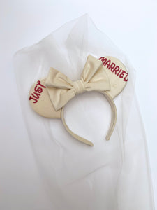 Velvet Bridal Ears with Detachable Veil - Handmade Wedding Bride Groom Mouse Ears Headband