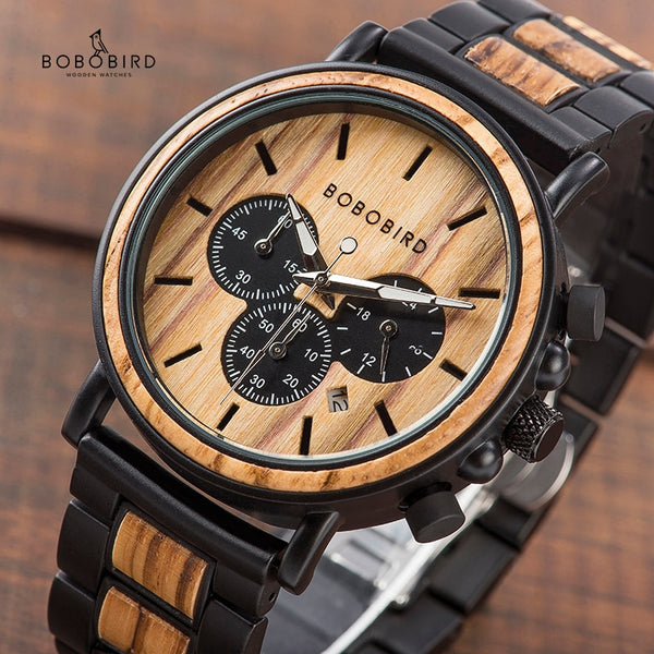 Wood and Stainless Steel Mens Watches