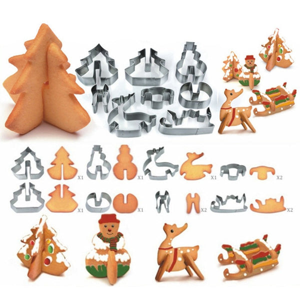 8pcs/set Stainless Steel 3D Christmas Cookie Cutters