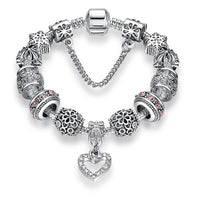 Fashion, Silver Heart Charms Bracelet Bangle